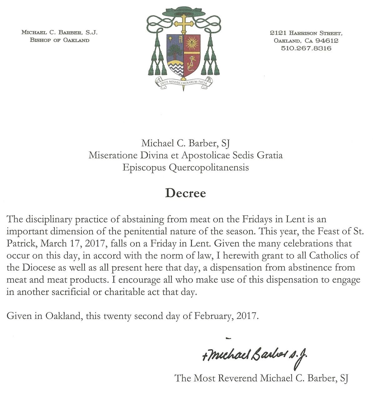 Bishop Michael Barber Gives Dispensation | St  Michael