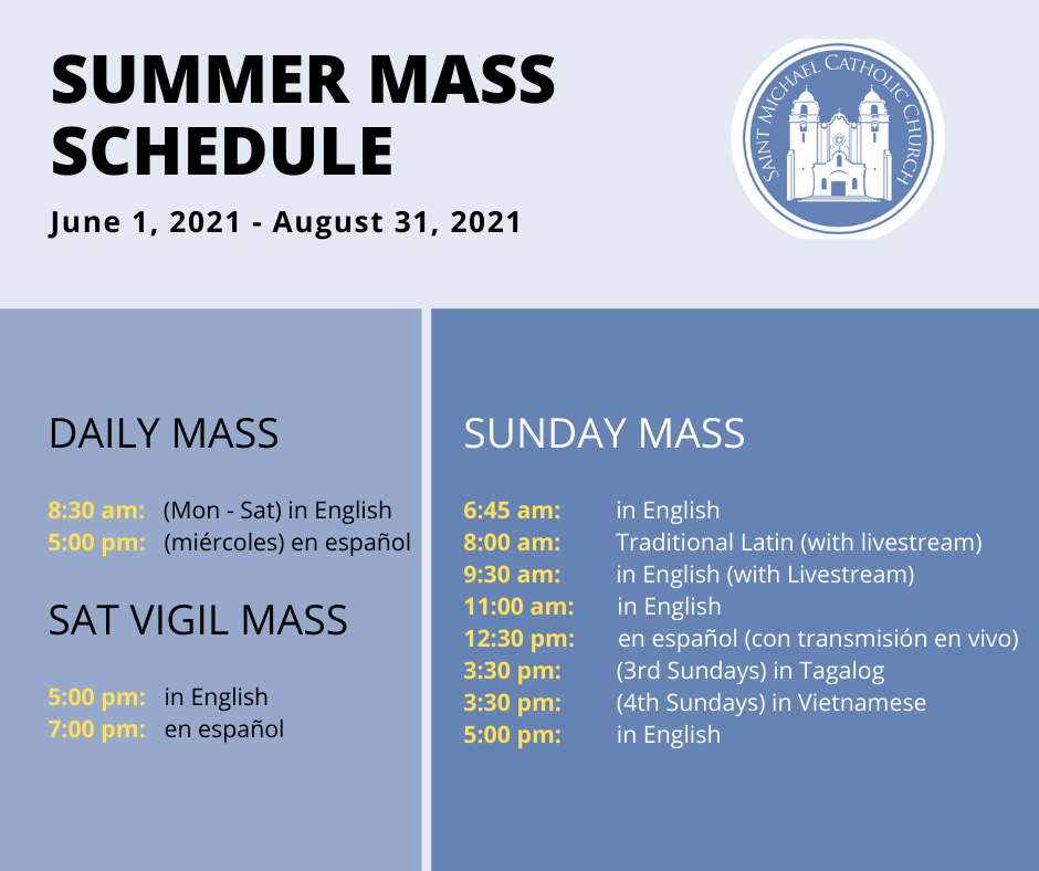 Summer Mass Schedule